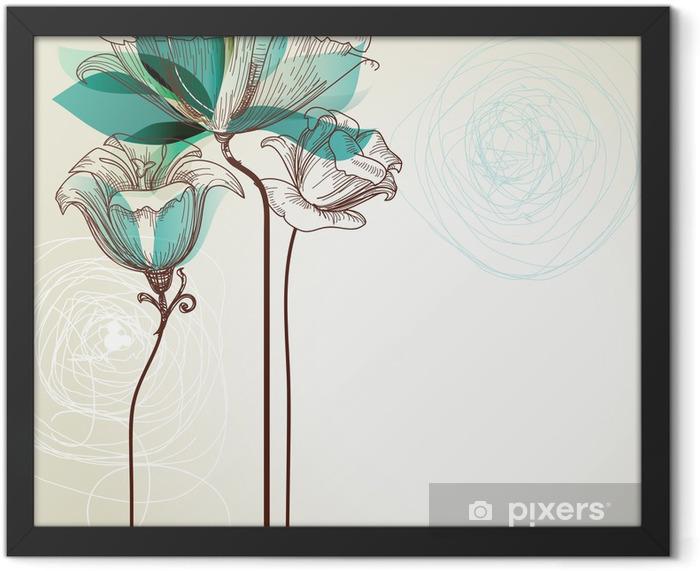 Plakat w ramie Retro tle kwiatów - Style
