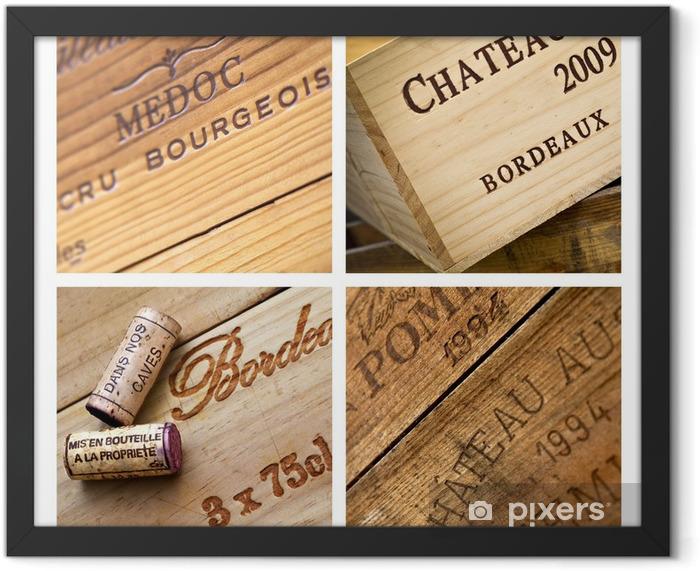 Vin, caisse, Bordeaux, chai, cave, emballage, bois Framed Poster - Alcohol