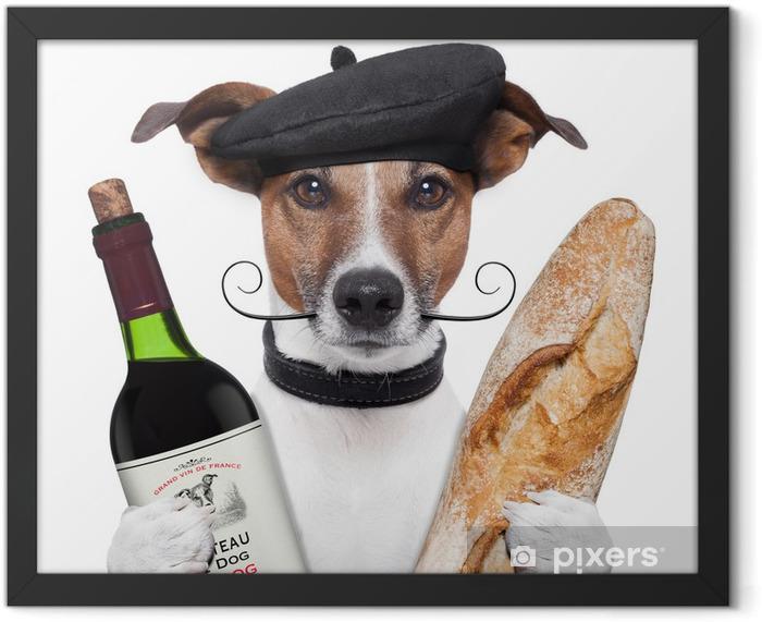 Plakat w ramie Francuski beret bagietki wina psa - Wakacje