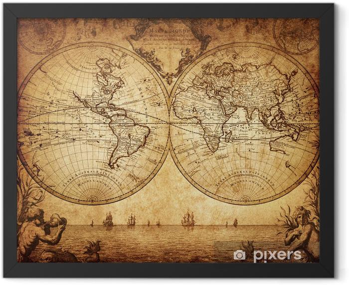 Plakat w ramie Vintage, mapa świata 1733 - Tematy