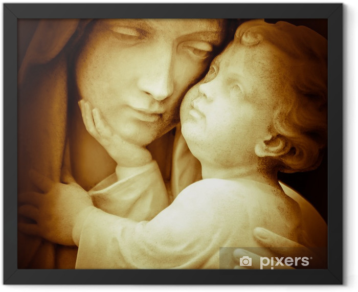 Vintage image of the virgin Mary carrying baby Jesus Framed Poster - Themes