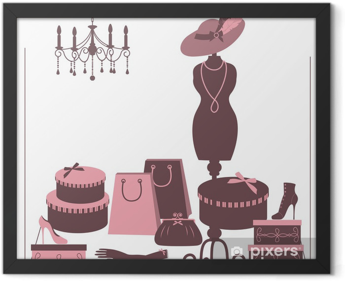 Storefront fashion shop with women accessory. Framed Poster - Backgrounds