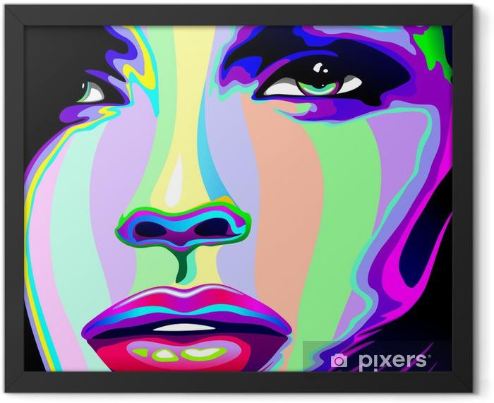 Plakat w ramie Portret dziewczyny psychodeliczny tęczy Viso ragazza psychedelico -
