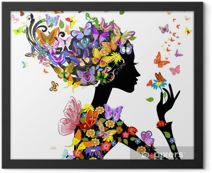 girl fashion flowers with butterflies Framed Poster - Fashion