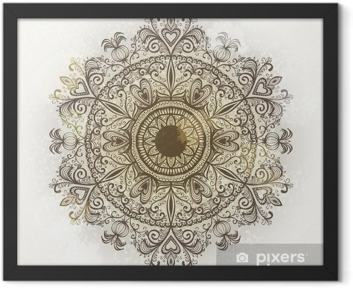 Ingelijste Poster Grunge hand getekende circulaire florale versiering. Eps10 - Thema's