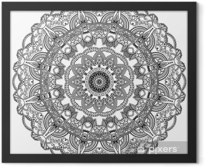 Plakat w ramie Czarne koronki koło na białym tle. Mandala ozdobnych - Naklejki na ścianę