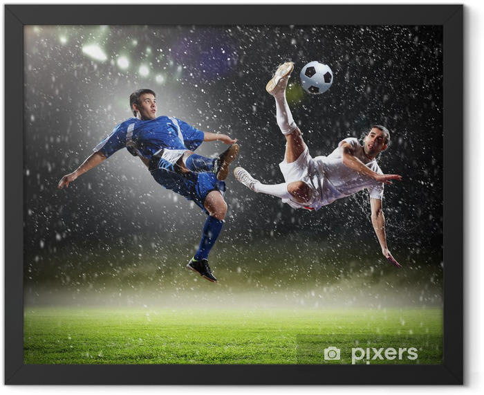 two football players striking the ball Framed Poster - Success and Achievement