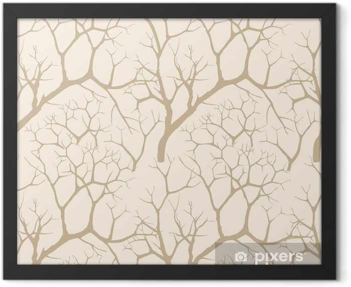 Chinese garden seamless background. Autumn tree. Lacy pattern. Framed Poster - Seasons
