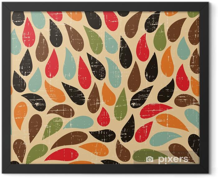Plakat w ramie Seamless abstrakcyjny wzór retro kropli. - Style