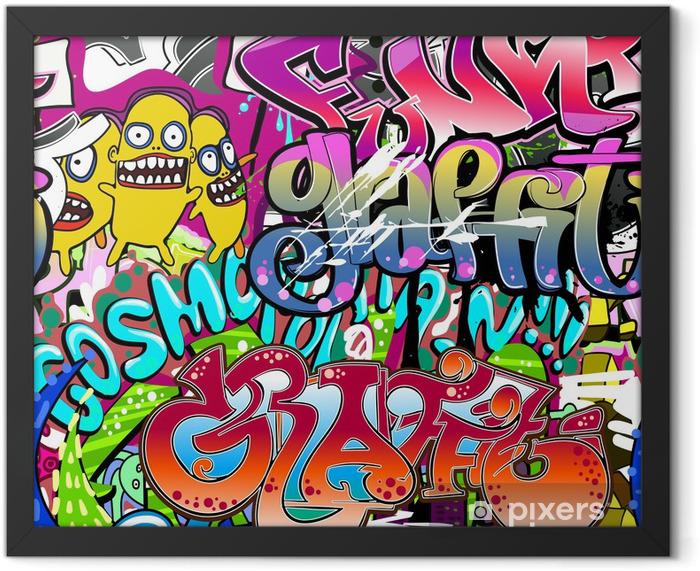 Plakat w ramie Graffiti ściany. tła miejskiego sztuki wektor. powtarzalne tekstury - Tematy