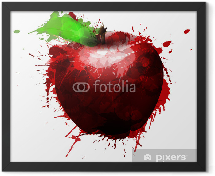 Apple made of colorful splashes on white background Framed Poster - Other Feelings