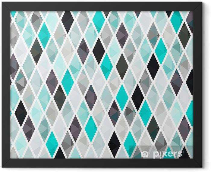 seamless turquoise geometric pattern Framed Poster - Time