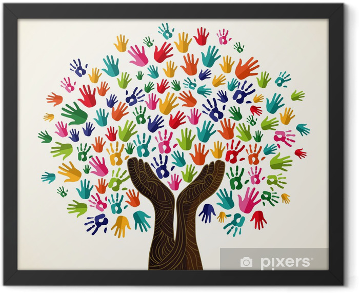 Colorful solidarity design tree Framed Poster - Trees