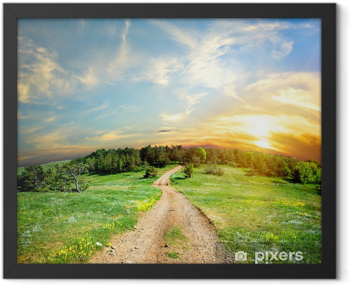 Country road in the mountains Framed Poster - Themes