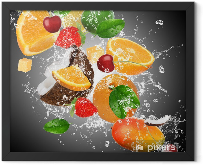 Fruit with splashing water Framed Poster - Kitchen