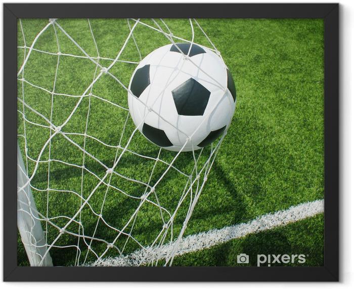 Soccer football field stadium grass line ball background texture Framed Poster - Themes