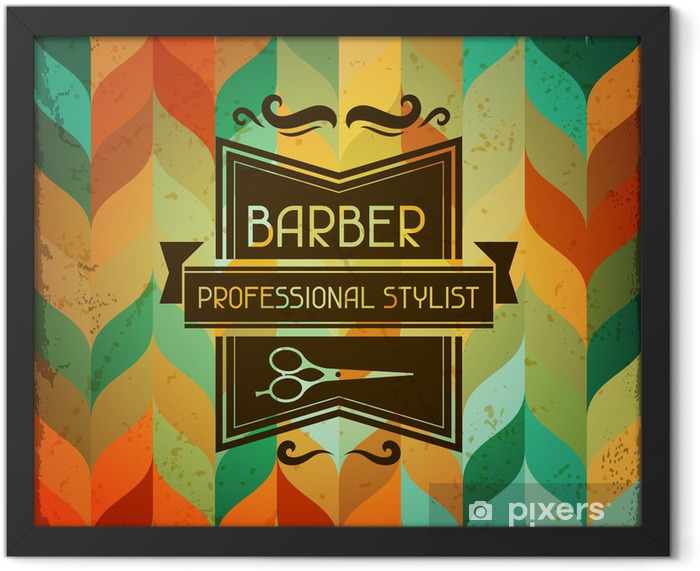 Hairdressing background in retro style. Framed Poster - Styles