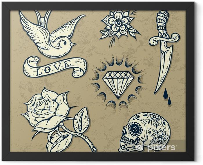 Plakat w ramie Zestaw starych szkolnych elementów tatuażu - Znaki i symbole