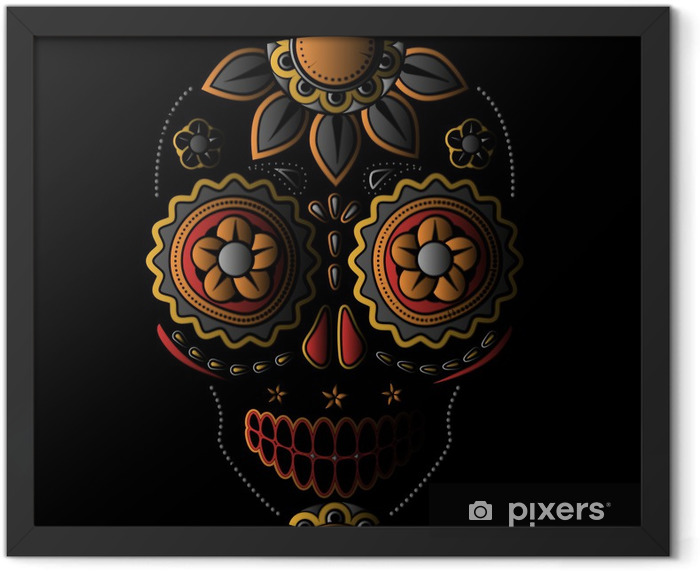 Day of the dead sugar skull Framed Poster - International Celebrations