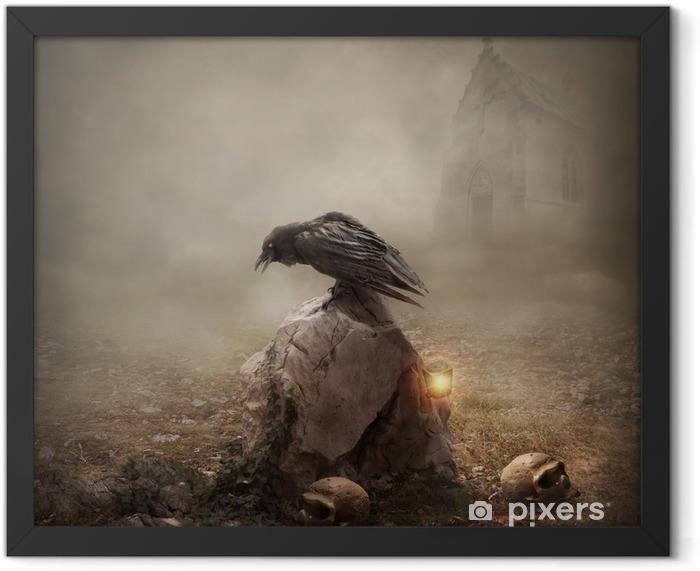 Poster en cadre Corbeau, assis sur une pierre tombale - Animaux imaginaires