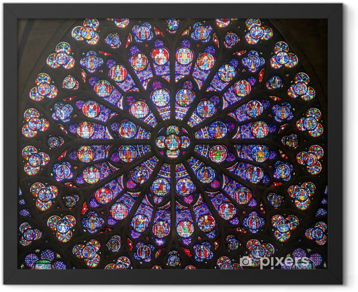 Rose stained glass window in the cathedral of Notre Dame, Paris Framed Poster - Themes