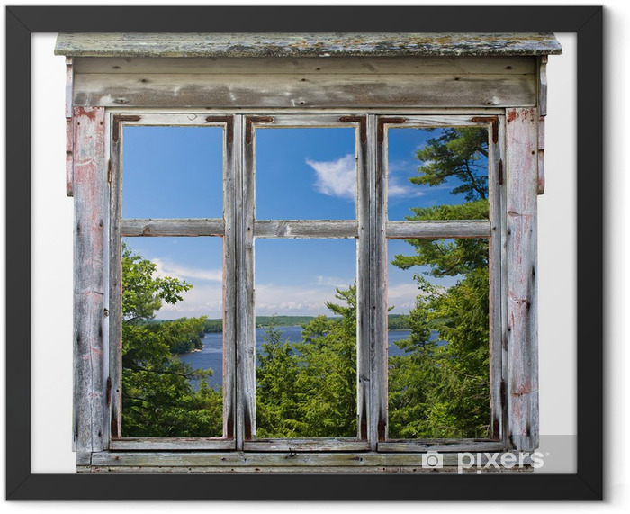 Scenic view seen through an old window frame Framed Poster - Destinations