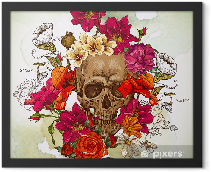 Skull and Flowers Day of The Dead Framed Poster - Flowers