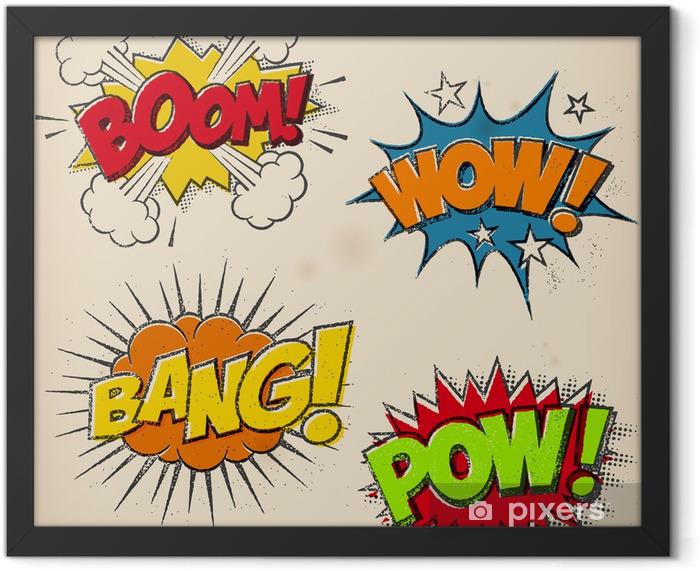Poster en cadre Grunge Comic Cartoon Sound Effects - Thèmes