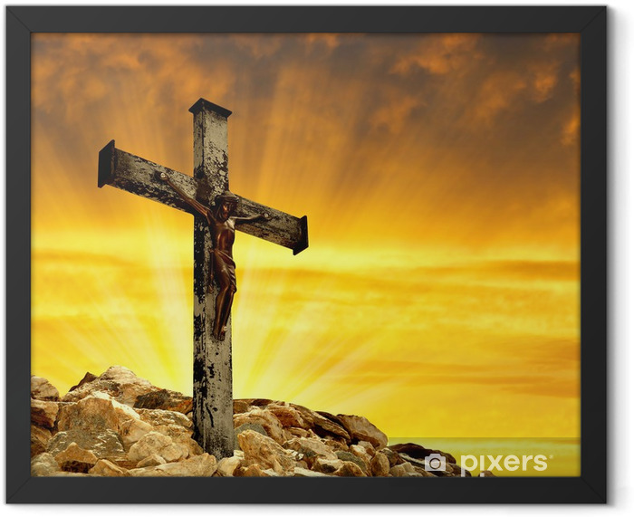 Jesus Christ on The Cross in the sunset Framed Poster - Themes