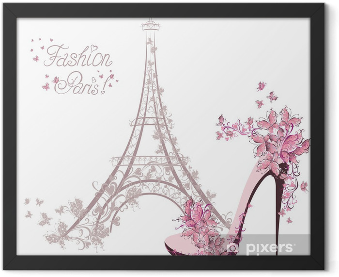 High-heeled shoes on background of Eiffel Tower. Paris Fashion Framed Poster - Fashion