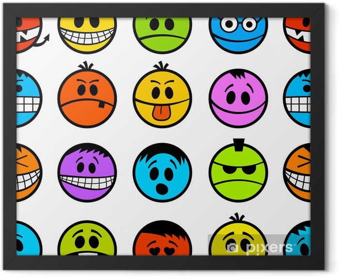 Funny colorful emotions seamless pattern. Framed Poster - Destinations