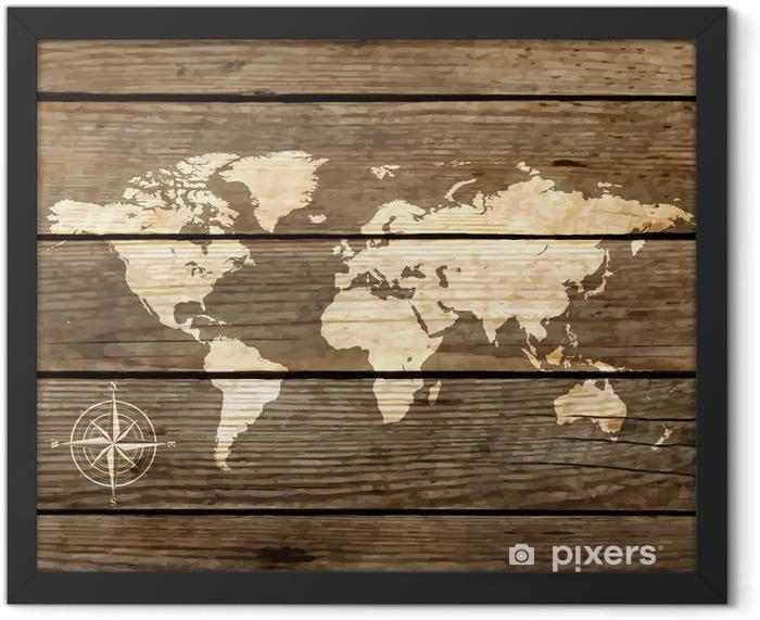 Plakat w ramie Mapa świata na desce wektora - Tematy