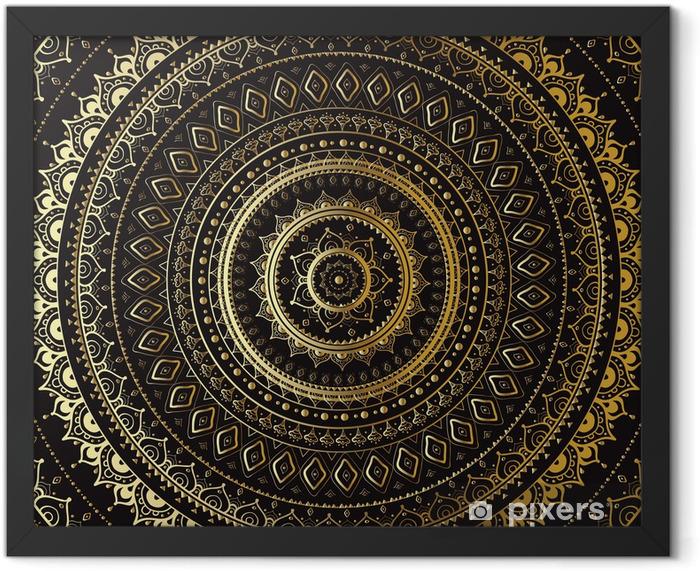 Plakat w ramie Złoto Mandala. Indian dekoracyjny wzór. - Tematy