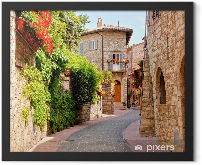 Plakat w ramie Kwiat pokryte ulicy w mieście Asyż, Włochy - Tematy