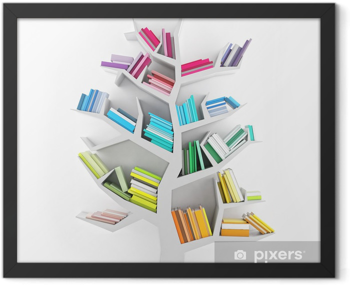 Tree of Knowledge, White Shelf with Multicolor Books Isolated Framed Poster - Science