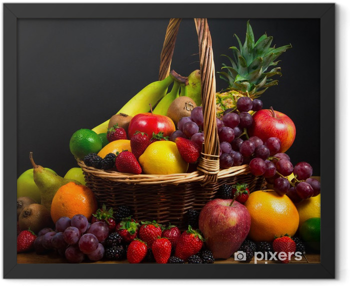 Mix of fresh fruits on wicker bascket Framed Poster - Themes