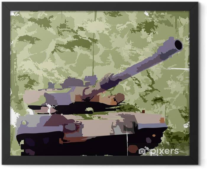 Plakat w ramie Armia tło z zbiornika. drukowania odzieży. wektor - Tematy