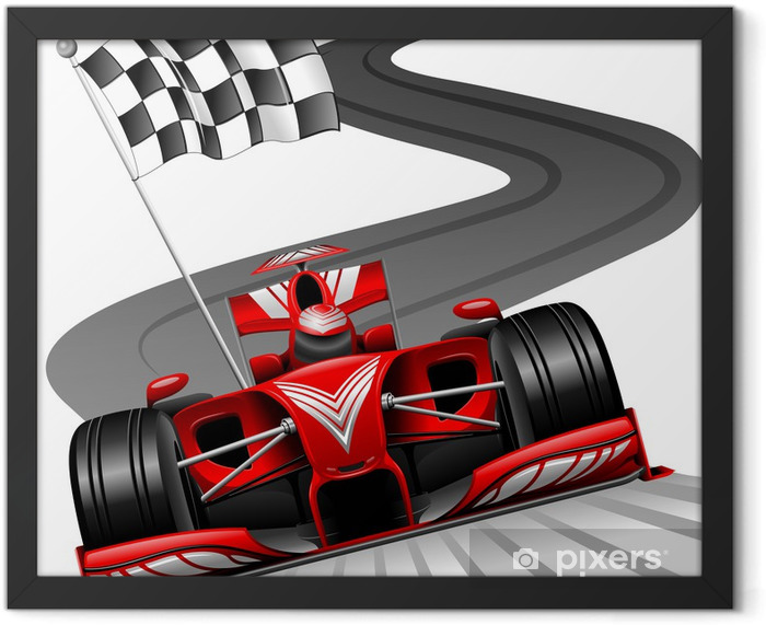 Formula 1 Red Car on Race Track Framed Poster - Wall decals