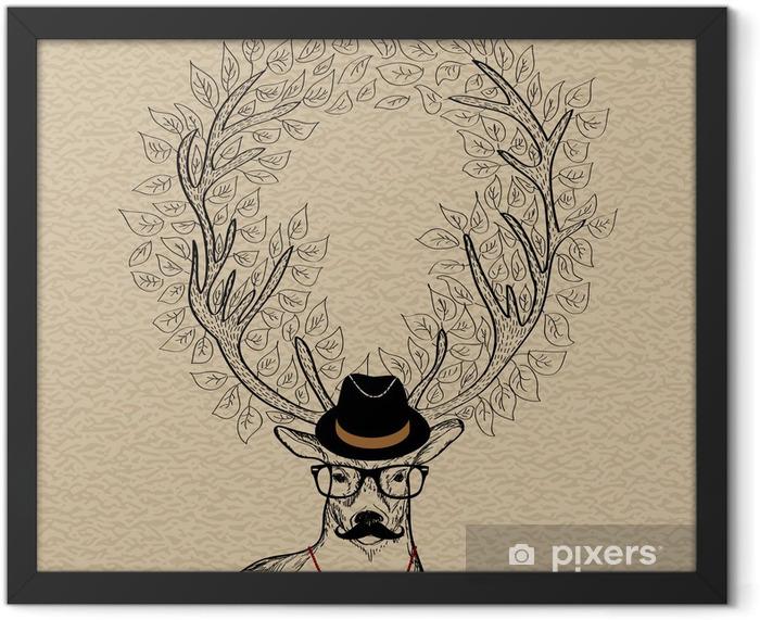 Hipster reindeer greeting card Framed Poster -
