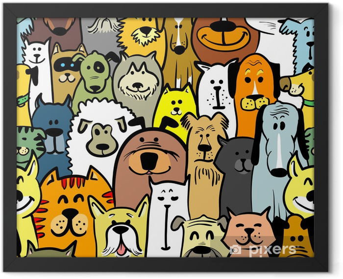 dogs and cats Framed Poster - Mammals