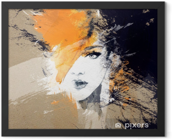 woman portrait .abstract watercolor .fashion background Framed Poster - People