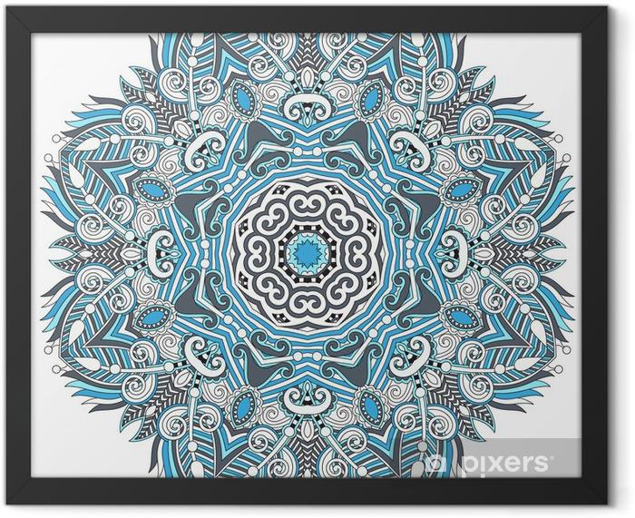 Ingelijste Poster Cirkel kant ornament, ronde sier geometrisch patroon kleedje - Muursticker