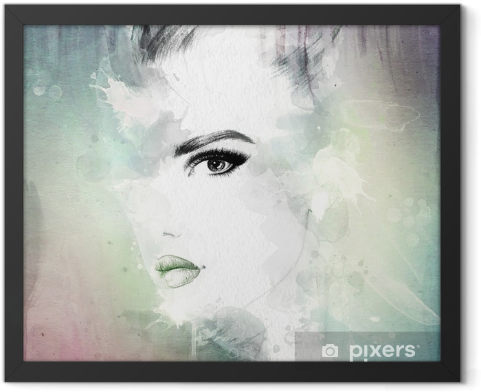 woman face . abstract watercolor illustration Framed Poster - Women