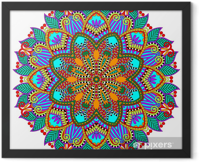 Plakat w ramie Mandala, okrąg dekoracyjny duchowy indyjski symbol lotosu - Naklejki na ścianę