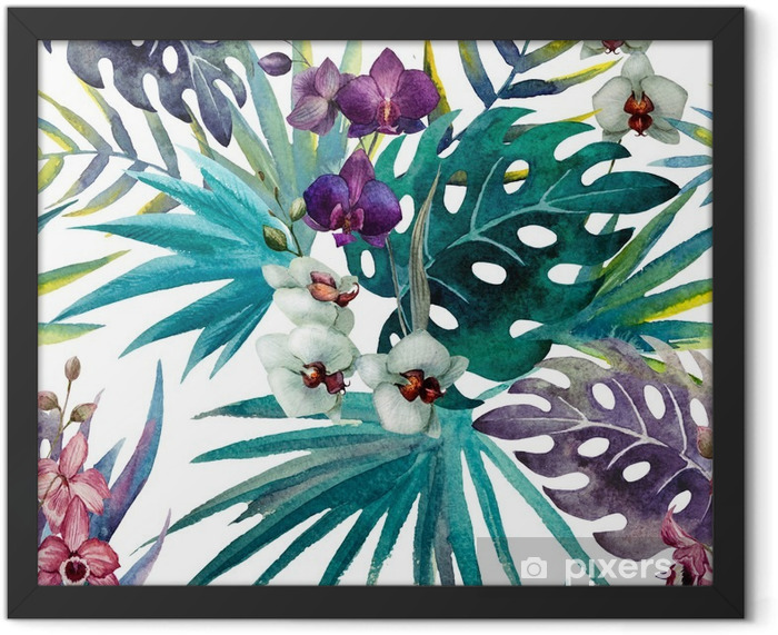Orchid hibiscus leaves pattern, watercolor Framed Poster - iStaging