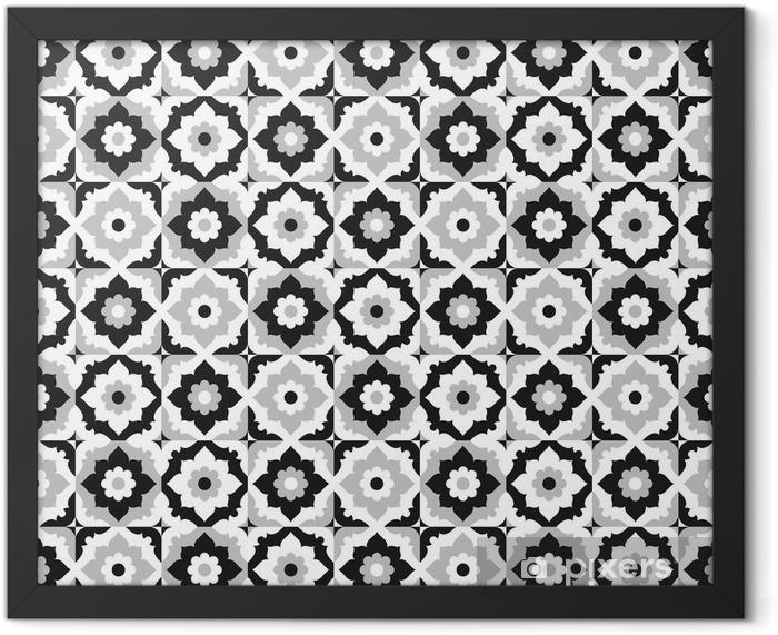 Plakat w ramie Jednolite wzór czarno-białe płytki ceramiczne - Płytki