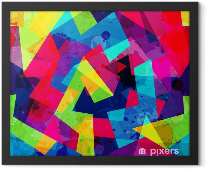 bright geometric seamless pattern with grunge effect Framed Poster - Graphic Resources