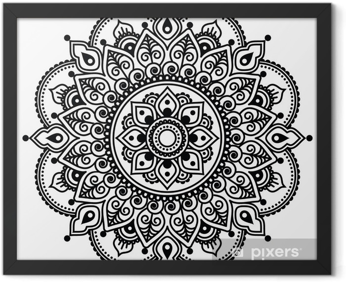 Mehndi, Indian Henna tattoo pattern or background Framed Poster - Asia