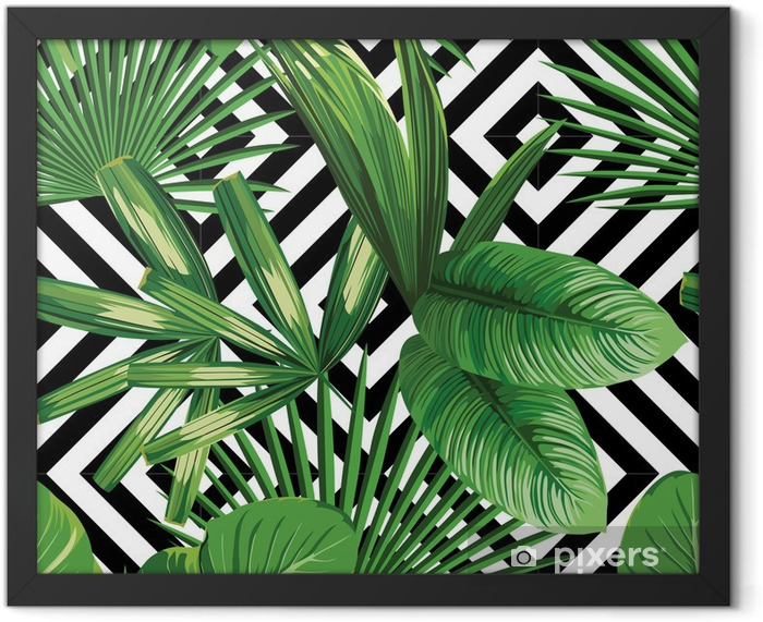 tropical palm leaves pattern, geometric background Framed Poster - Canvas Prints Sold