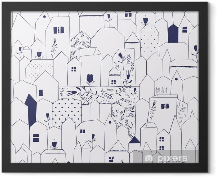 Poster en cadre Seamless pattern. Figure villes de style vintage. - Styles